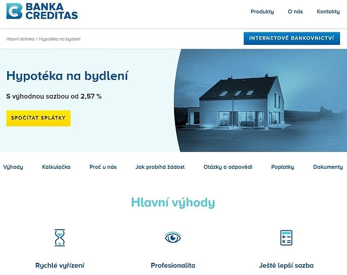 Banka Creditas nově nabízí hypotéky na bydlení