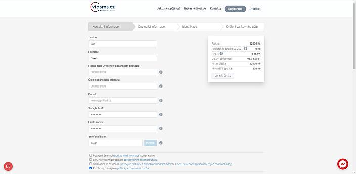Žádost o půjčku ViaSMS - vyplňte požadované údaje